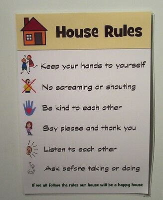 HOUSE RULES - Child behaviour / warning chart - Ideal kids, toddlers, autism