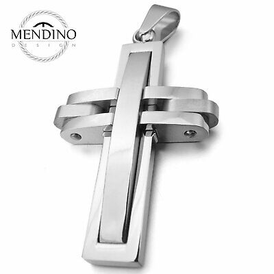 MENDINO Men's Stainless Steel Pendant Necklace Hollow Crucifix Cross Silver Tone