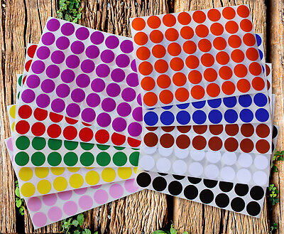 Dot Colors Circle Stickers ~3/4 Inch 10 Colors 17 mm Small Dots 720 Pack