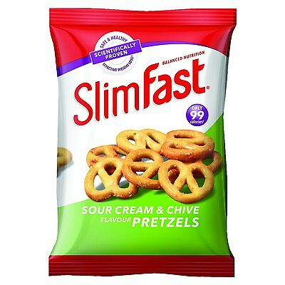 Slim Fast Sour Cream & Chive Pretzels Snack Bag 23g Pk 12
