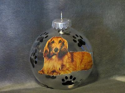 "Hand Made Long Hair Dachshund 3"" Glass Christmas Ornament / Ball"
