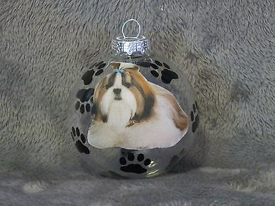 "Hand Made Shih Tzu 3"" Glass Christmas Ornament / Ball"