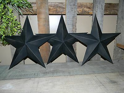 "Set of 3 12"" BLACK TEXTURED BARN STARS Metal Tin  Primitive Country"
