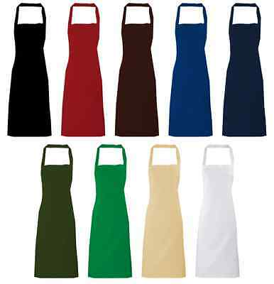 New Poly-Cotton Plain Apron NO pocket Cooking Crafts Kitchen Chefs Workwear
