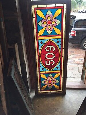 Sg 861 Antique Stainglass Transom Window With Jewels 509 Address