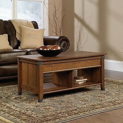 Sauder Carson Forge Lift-Top Coffee Table Washington Cherry Finish