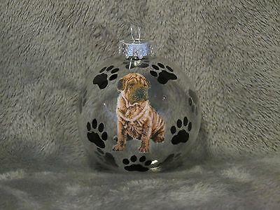 "Hand Made Shar Pei 3"" Glass Christmas Ornament / Ball"