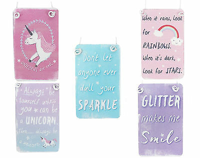 Mini Unicorn / Rainbow hanging metal sign pink blue purple glitter small plaques