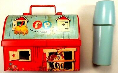 Fisher Price Vtg. Red Barn Lunch Box w/Thermos 1962 # 549