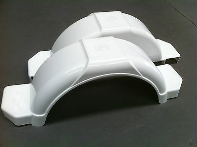 "BOAT TRAILER MUD GUARDS 14/15"" - 1 x PAIR - WHITE - AUSTRALIAN MADE"