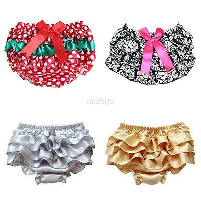 Baby Girl Infant PP Pants Satin Ruffle Diaper Cover Bloomer Tutu Culotte 0-2 Y