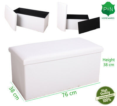 NEW Large Cream leather ottoman box Storage Pouffe Foot Stool Toy Storage
