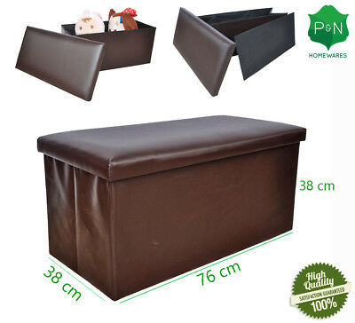 NEW Large Brown leather ottoman box Storage Pouffe Foot Stool Toy Storage