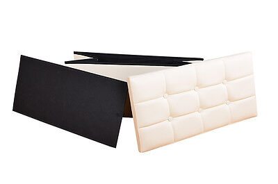 Large Cream Leather Tufted Ottoman Box Storage Pouffe Foot Stool Toy Blanket