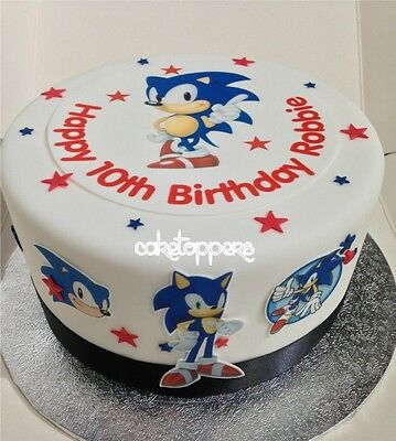 Edible Icing Sonic The Hedgehog Small Personalised Boys Cake Topper & extra's