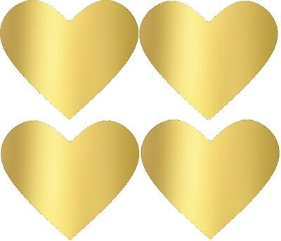 Gold Heart Stickers gold foil heart labels 35mm x 30mm . Packet of 100!