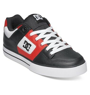 DC Pure Leather Skate Trainers Shoes, White/Red/Black New