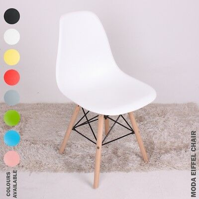 Moda Eiffel Dining Chair Retro Vintage Style Lounge Dining Room Plastic Wood WOW