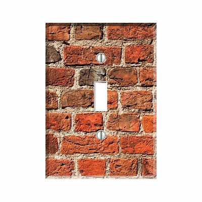 Red Brick Weathered Light Switch Plate Outlet Wall Cover  Decor