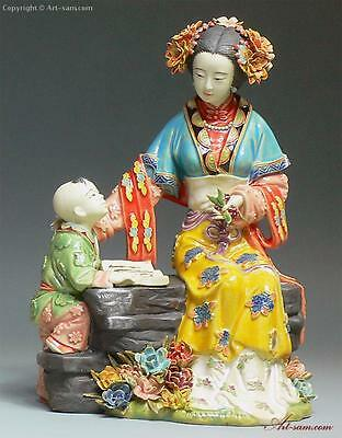 Ceramic Figurine Master Ancient Chinese great beauty woman/child