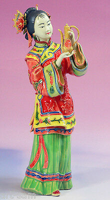 Ancient Chinese Lady - Shiwan Ceramic Lady Figurine Wine Serving