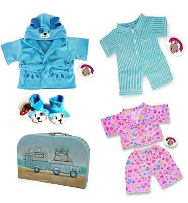 Teddy Bear Clothes fit Build a Bear Pyjamas Robe Slippers INCLUDES Gift Suitcase