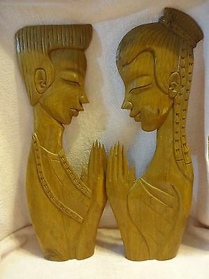 Beautiful Vintage Wood Carvings Of A Boy And A Girl In Prayer