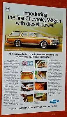1980 Chevy Caprice Classic Estate Wagon Diesel Ad + Beautiful Stiffel Lamps Ad