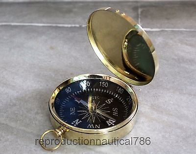 Vintage Brass Collectible Compass Shiny Brass Marine Working Compass Decorative