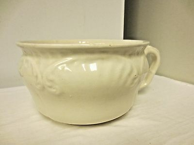 Vintage Mr Pots Potie marked Chamber Pot Thunder Mug-White with handle