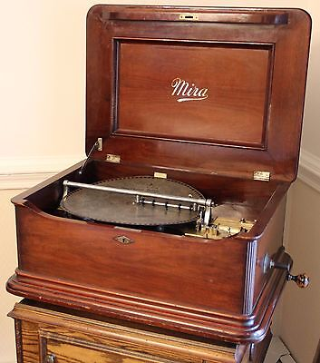"Antique Mira 15.5"" Disc Single Comb Mahogany Music Box Functions Beautifully"