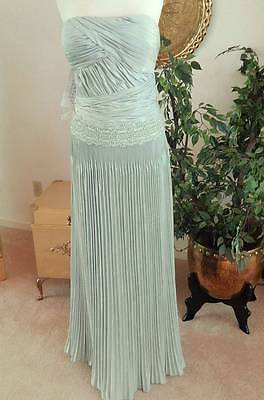 NWT Sz 14 Montage Lt Pastel Green Strapless Embellished Gown Dress MOB