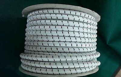 "3/8"" Premium Marine Grade Bungee Shock Cord  WHITE with BLACK TRACER 1-300"