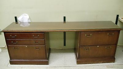 Nice Wood Credenza with File Cabinet Drawers and Glass Top (Price Drop)