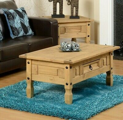 Corona Coffee Table Mexican Style Solid Pine Wood With 1 Drawer Rustic