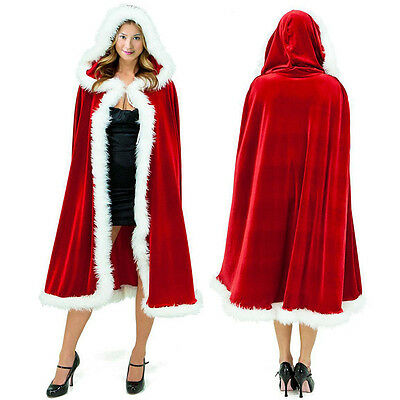 Santa Velvet Cape Hooded Cloak Halloween Christmas Fancy Dress Costume Coat Robe