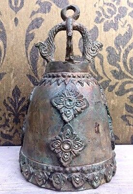 Thai Temple Bell Chime Wind Clapper Decor Bronze Buddha Ancient Antique Flower