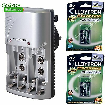 Lloytron 9V AA AAA Battery Charger + 2 x 9V 250 mAh Rechargeable Batteries PP3