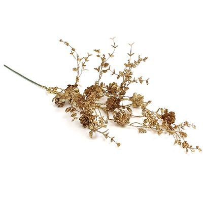 Gold Glitter Leaf And Pine Cone Spray 60 cm Artificial Flower Floral Display