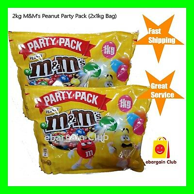 2kg M&M's Peanut Chocolate Party Pack Bulk (2x1kg Bag) M&Ms