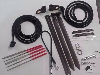 Complete Falconry Set Jesses Straps Anklets Swivel Etc All Sizes *10/10 Quality*