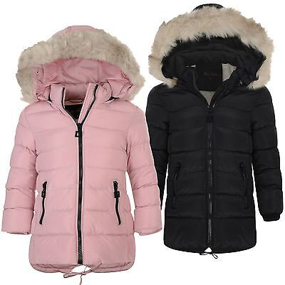Girls Long Down Quilted Winter Jacket Kids Detach Hood Zip Parka Coat 3-14 Years