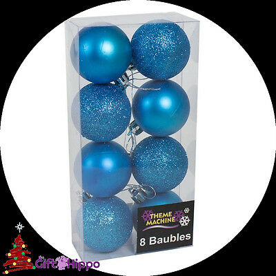 Christmas Decorations -  8 Pack Blue Glitter & Plain Baubles - 50mm