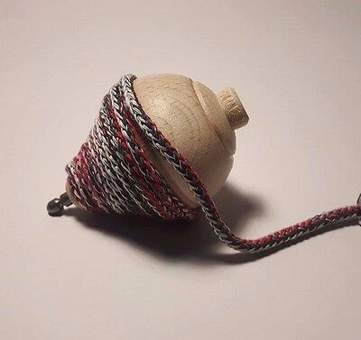 Handmade Wooden Traditional Vintage Portuguese Toy Pião Spinning top String Cord