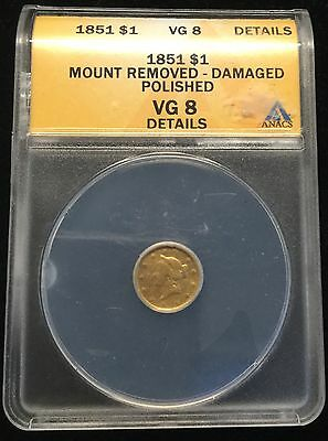 1851 $1 Liberty Head Gold ANACS VG 8 DETAILS