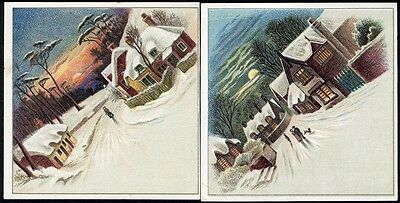 GOODWILL SOAP 2 Trade Cards 1880's - Pretty Country Snow Scenes VILLAGE Cottages