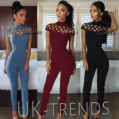 UK Womens Choker High Neck Caged Sleeve Playsuits Ladies Long Jumpsuits Size6-14