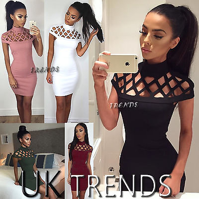 UK Womens Choker High Neck Bodycon Ladies Caged Sleeves Mini Dress Size 6-14