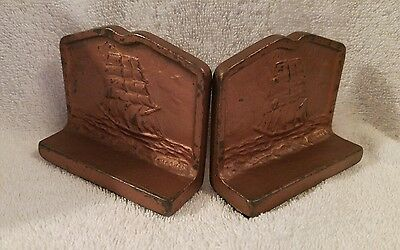 Pair Antique Vintage Cast Iron Sailboat Ship Book Ends Nautical Signed Pacquin