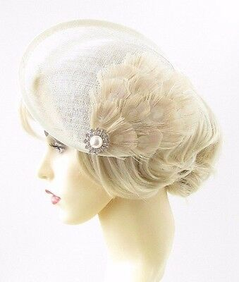Large Cream Ivory Feather Saucer Disc Fascinator Hat Races Sinamay Clip Hair 660